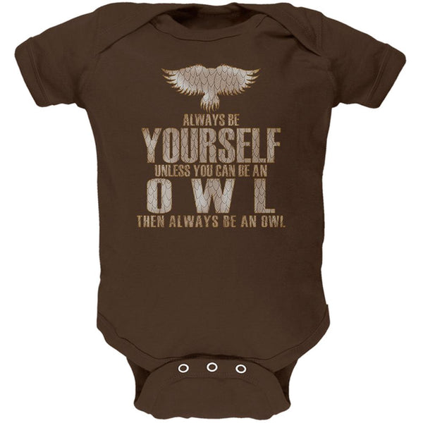 Always Be Yourself Owl Brown Soft Baby One Piece