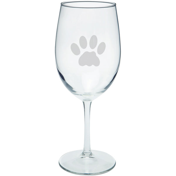 Cat Paw Etched Wine Glass