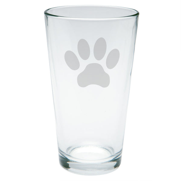Dog Paw Etched Pint Glass
