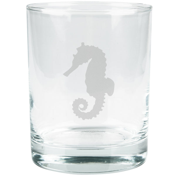 Seahorse Etched Glass Tumbler