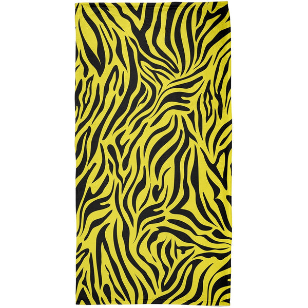 Zebra Print Yellow All Over Beach Towel