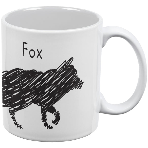 Fox Scribble Drawing White All Over Coffee Mug