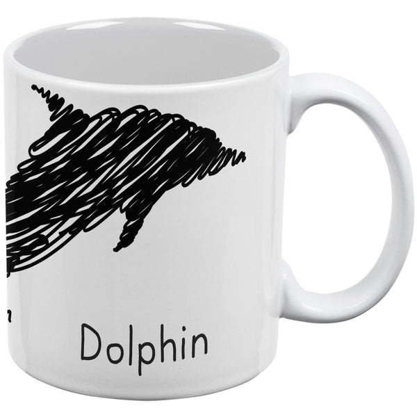 Dolphin Scribble Drawing White All Over Coffee Mug