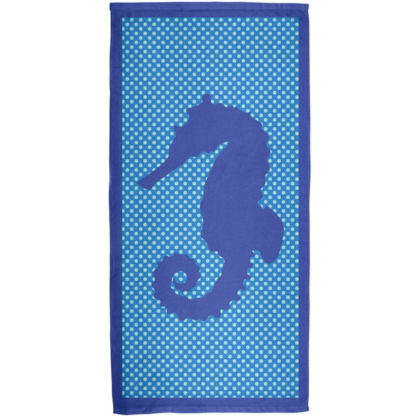 Blue Seahorse Polka Dot All Over Terry Cloth Towel