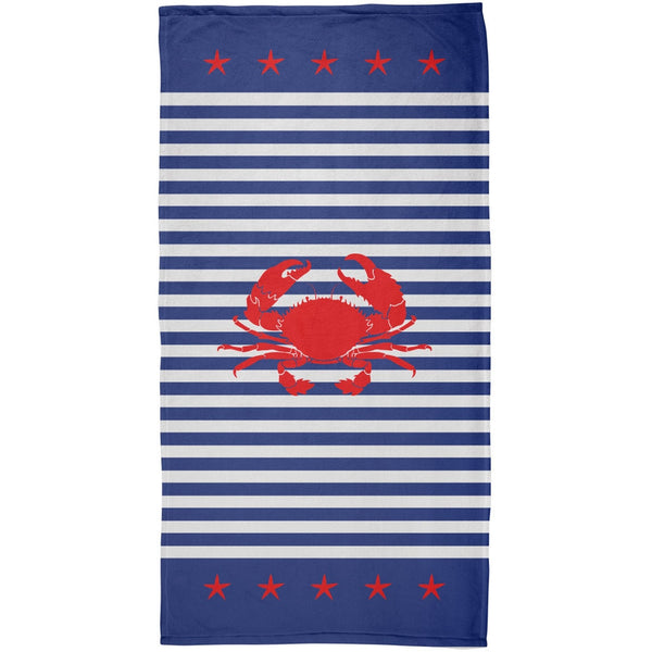 Crab Fourth of July Nautical All Over Plush Beach Towel