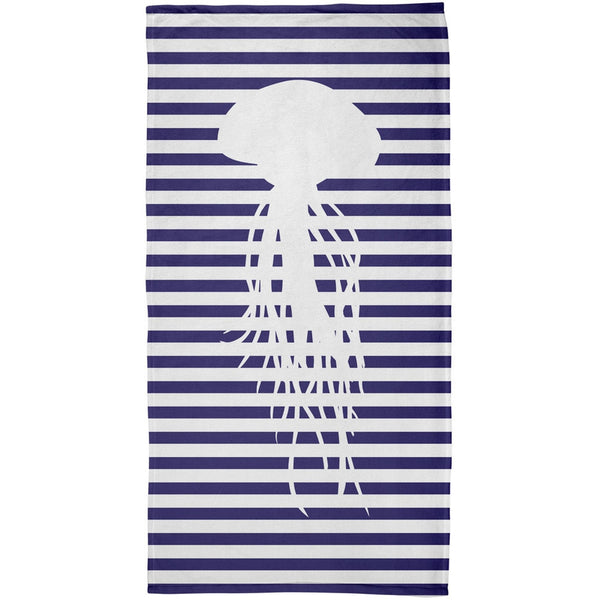 Jellyfish Nautical Stripes All Over Plush Beach Towel