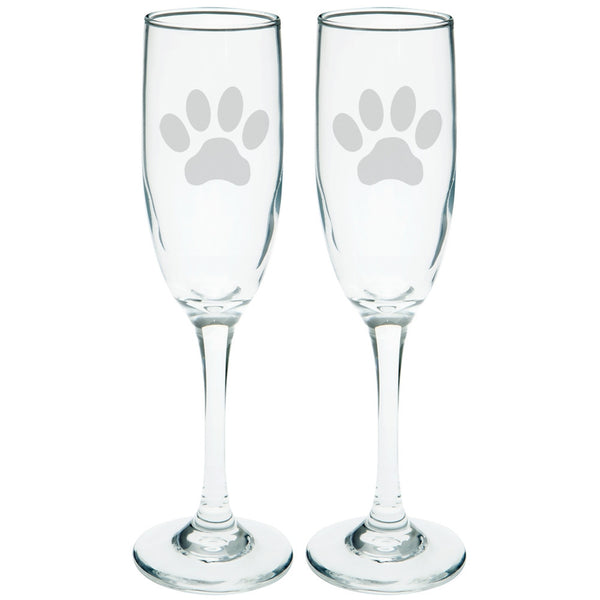 Dog Paw Etched Champagne Glass Set