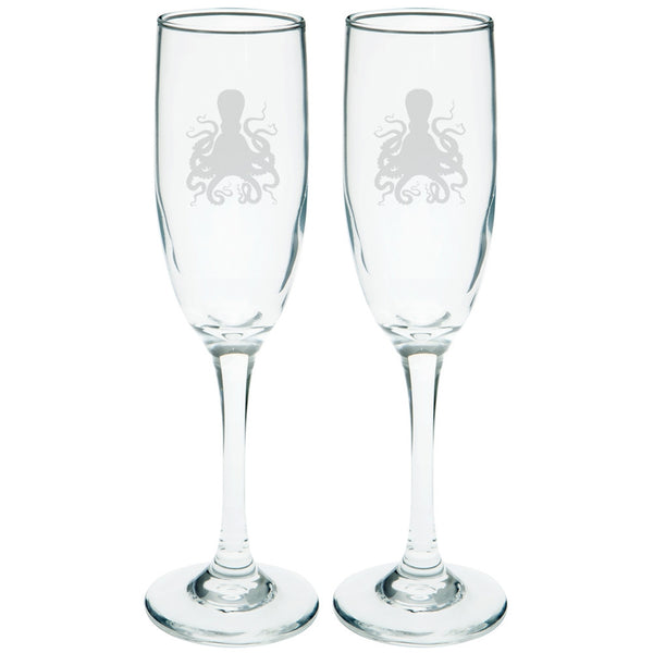 Octopus Etched Champagne Glass Set