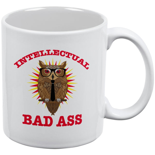 Graduation Intellectual Bad Ass Owl White All Over Coffee Mug