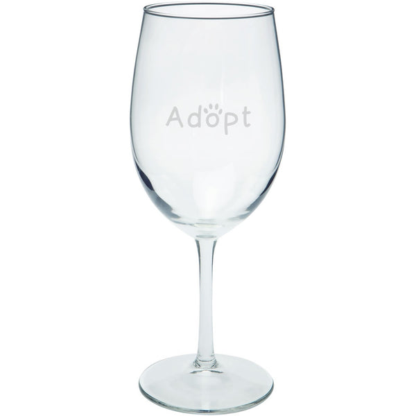Adopt Cat Dog Paw Etched Wine Glass