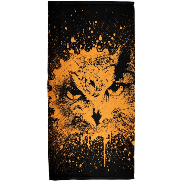 Splatter Owl All Over Plush Beach Towel
