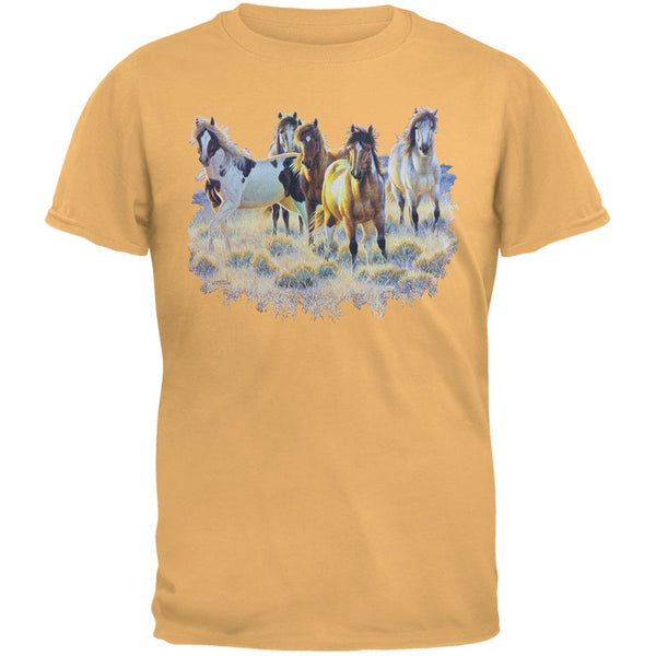 Horses In Meadow Adult T-Shirt