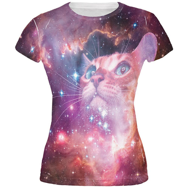 Galaxy Cat All Over Juniors T-Shirt