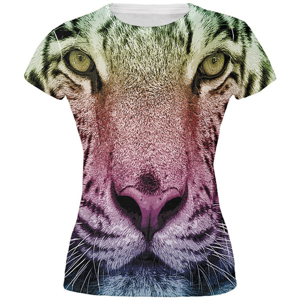 Rainbow Tiger All Over Juniors T-Shirt