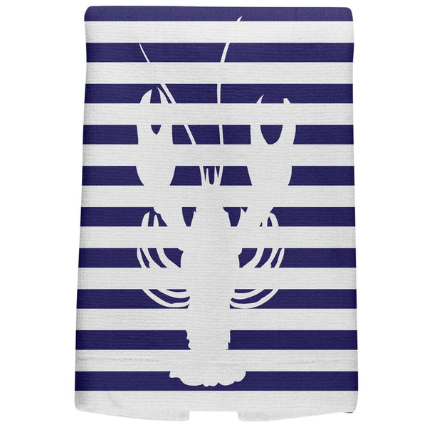 Lobster Nautical Stripes All Over Hand Towel