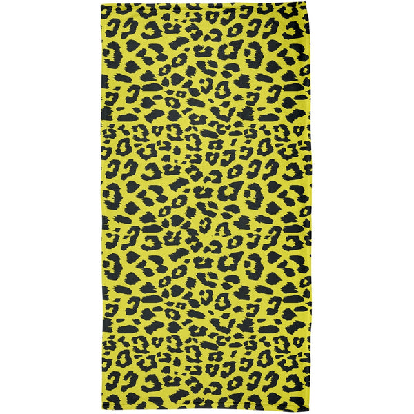 Yellow Cheetah Print All Over Plush Beach Towel