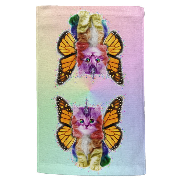 Rainbow Butterfly Unicorn Kittens All Over Hand Towel