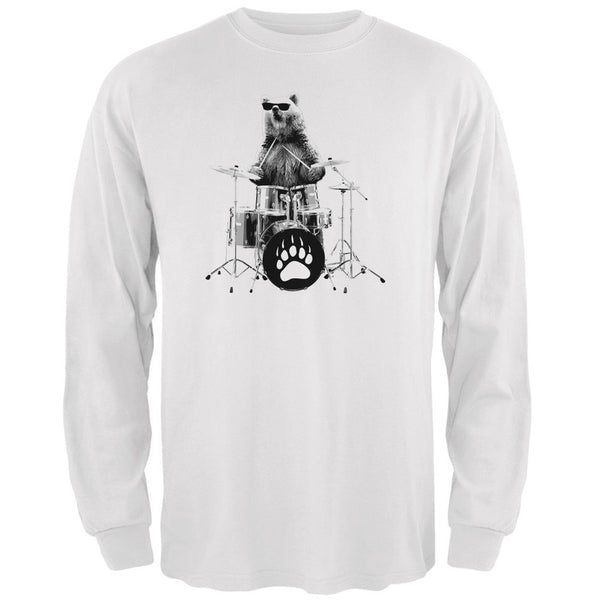 Bear Drummer White Adult Long Sleeve T-Shirt
