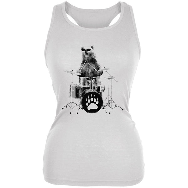 Bear Drummer White Juniors Soft Tank Top