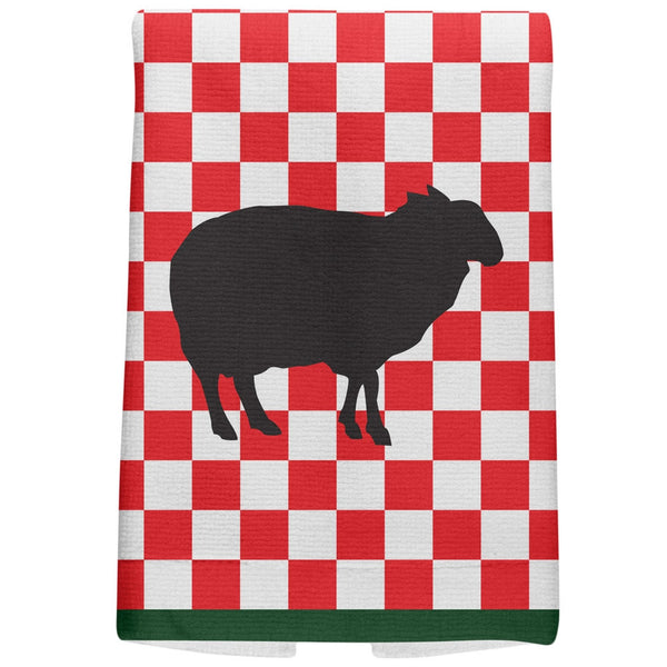 Country Kitchen Checkerboard Sheep All Over Hand Towel