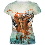 Timber Wolf Watercolor All Over Juniors T-Shirt