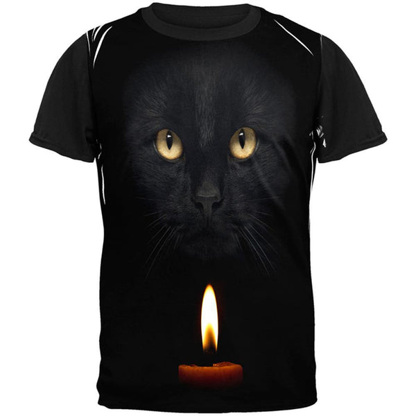 Halloween Black Cat By Candle Light All Over Adult T-Shirt
