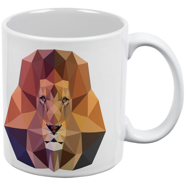 Low-Poly Lion White All Over Coffee Mug