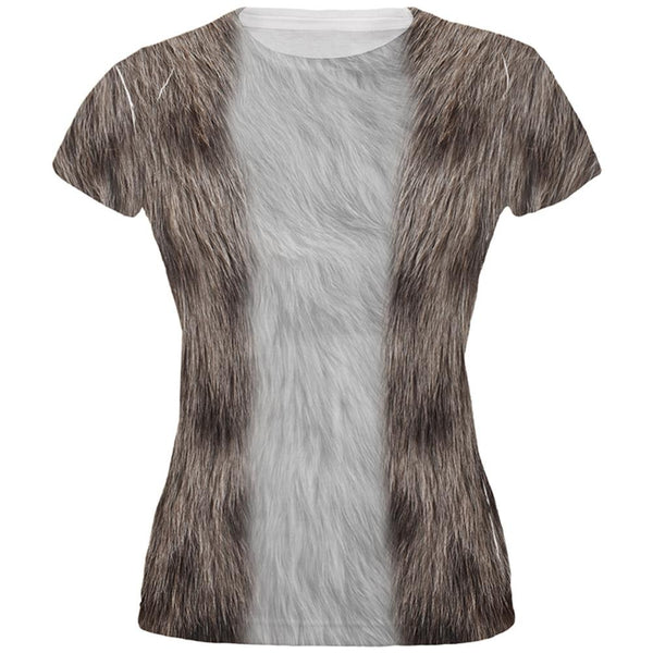 Halloween Grey Cat Costume All Over Juniors T-Shirt