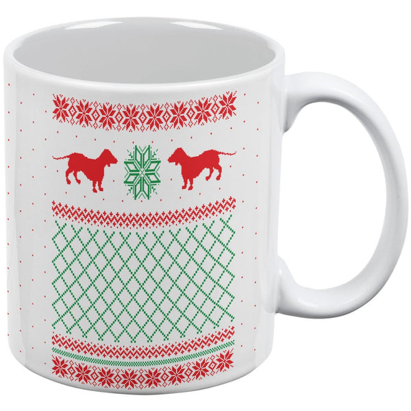 Dachshund Ugly Christmas Sweater White All Over Coffee Mug