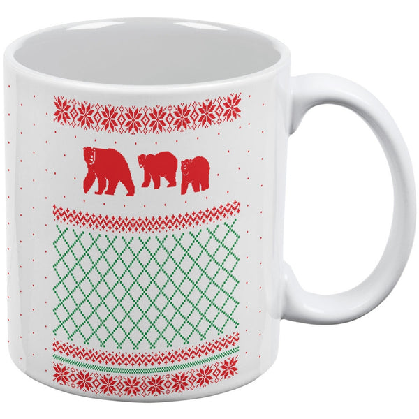 Polar Bear Ugly Christmas Sweater White All Over Coffee Mug