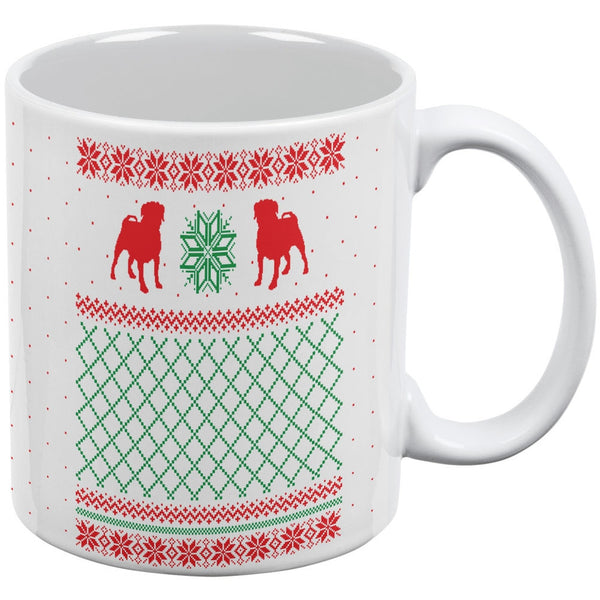 Pug Dog Ugly Christmas Sweater White All Over Coffee Mug