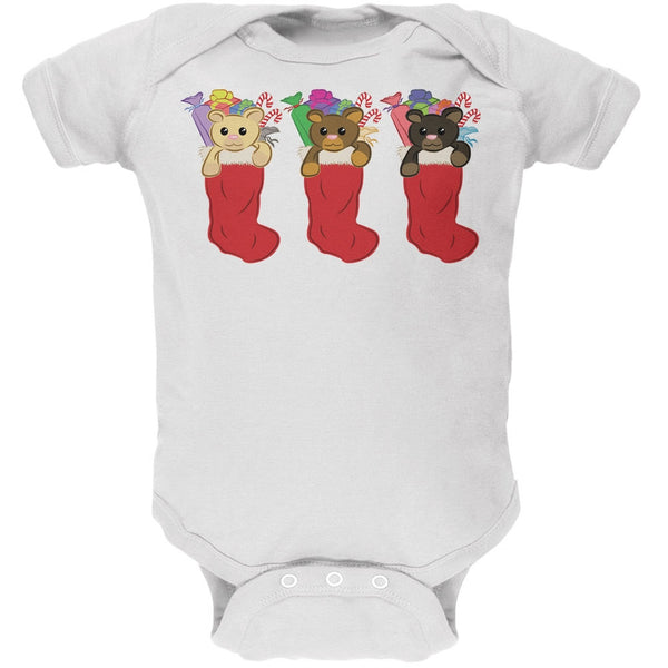 Christmas Stockings 3 Teddies Black Soft Baby One Piece