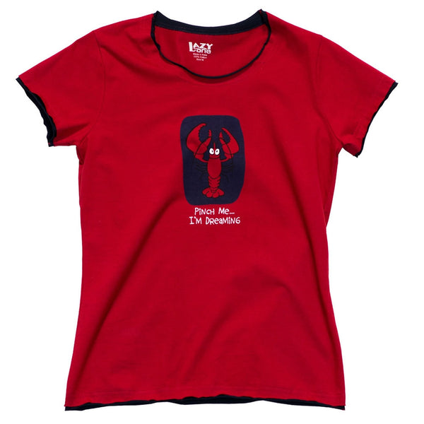 Pinch Me I'm Dreaming Lobster Womens Pajama T-Shirt
