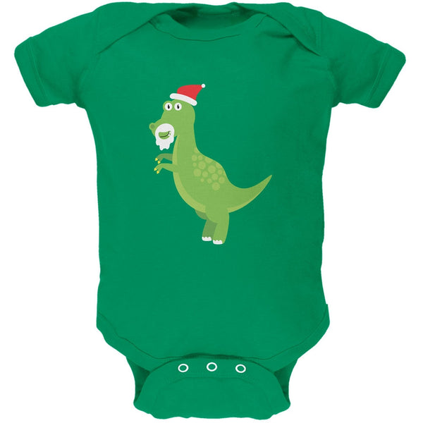 Christmas Dinosaur T-Rex Apple Green Soft Baby One Piece