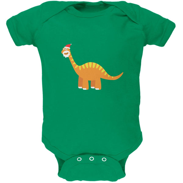 Christmas Dinosaur Brachiosaurus Apple Green Soft Baby One Piece