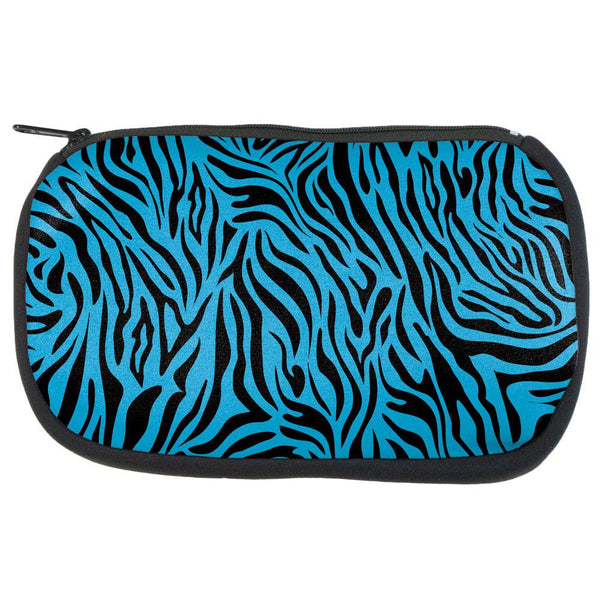 Zebra Print Blue Makeup Bag