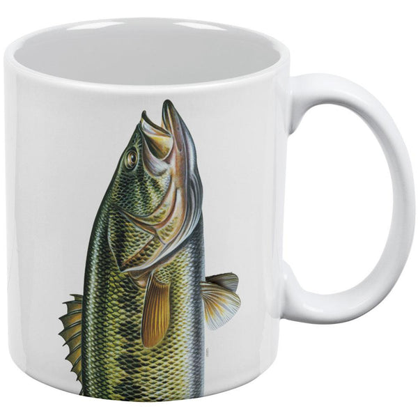 Big Bass White All Over Coffee Mug