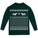 Dachshund Ugly Christmas Sweater Green Youth Long Sleeve T-Shirt