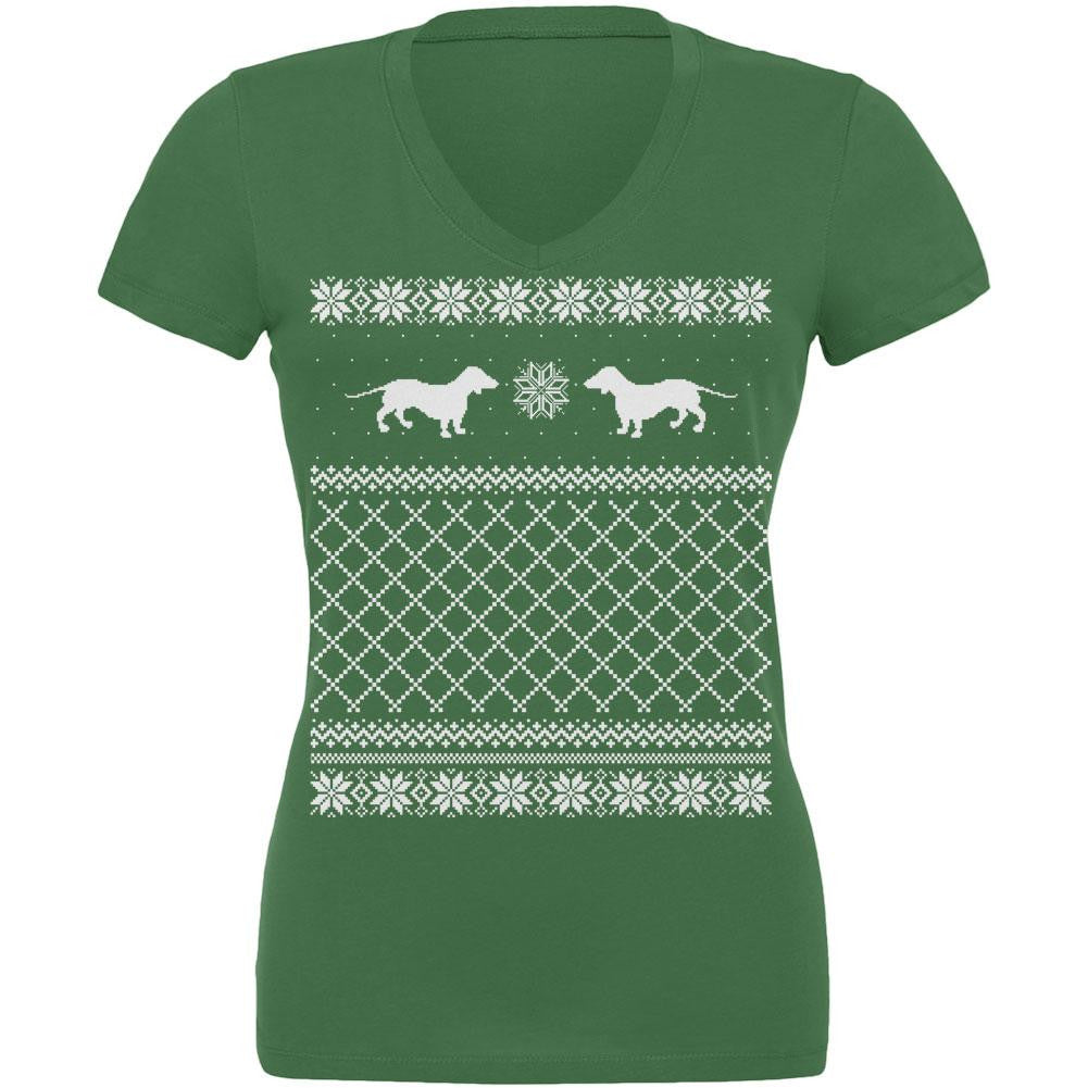 Dachshund Ugly Christmas Sweater Leaf Juniors V-Neck T-Shirt ...