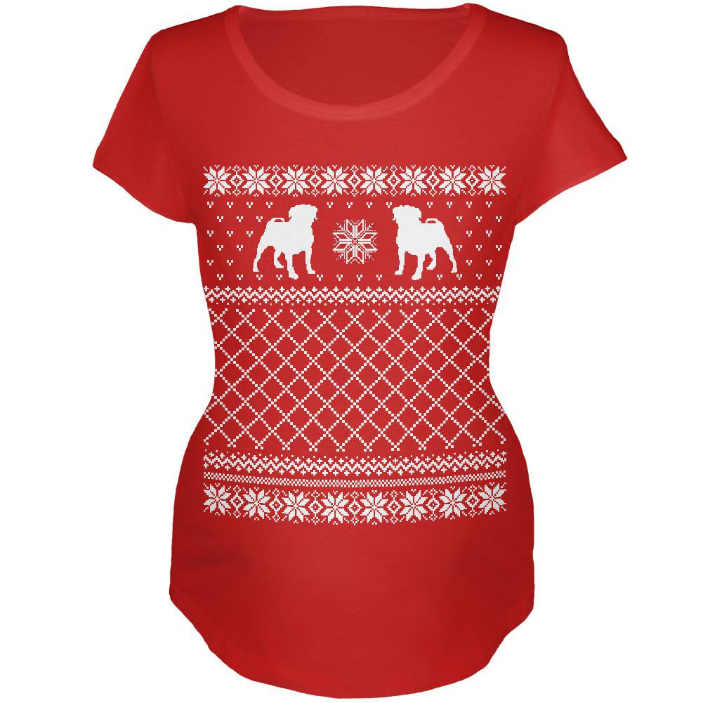 pug ugly christmas sweater red maternity soft t shirt - Maternity Christmas Sweater