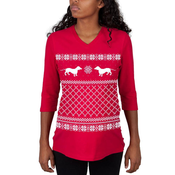 Dachshund Ugly Christmas Sweater Red Maternity 3/4 sleeve T-shirt