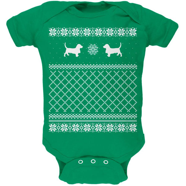 Basset Ugly Christmas Sweater Kelly Green Soft Baby One Piece