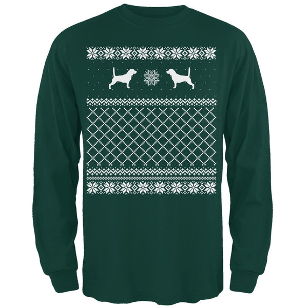 Beagle Ugly Christmas Sweater Forest Adult Long Sleeve T-Shirt