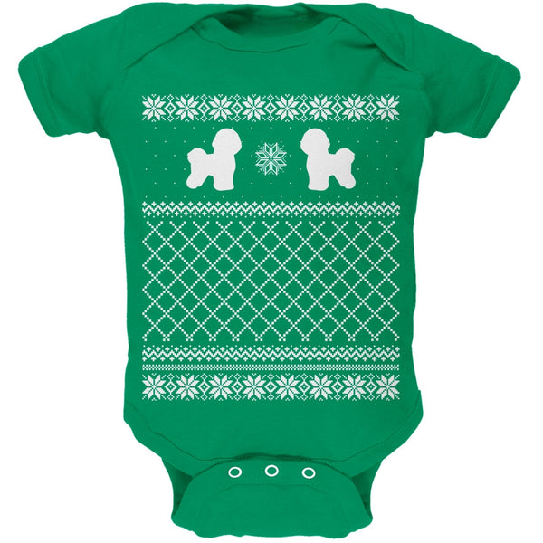 Bichon Frise Ugly Christmas Sweater Kelly Green Soft Baby One Piece