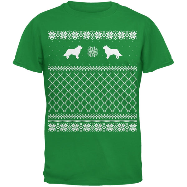 Border Collie Ugly Christmas Sweater Irish Green Adult T-Shirt