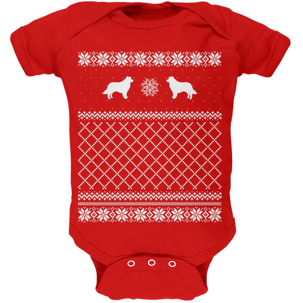 Border Collie Ugly Christmas Sweater Kelly Green Soft Baby One Piece
