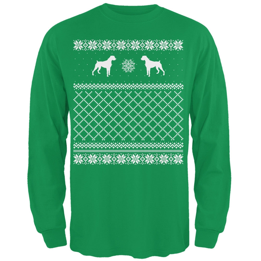 Boxer Ugly Christmas Sweater Forest Adult Long Sleeve T-Shirt ...