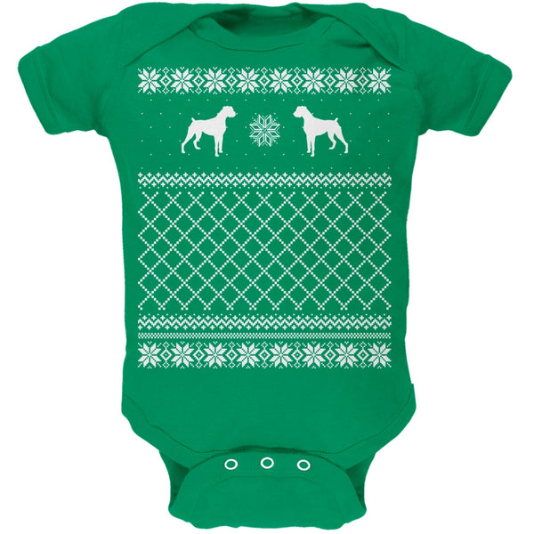 Boxer Ugly Christmas Sweater Kelly Green Soft Baby One Piece