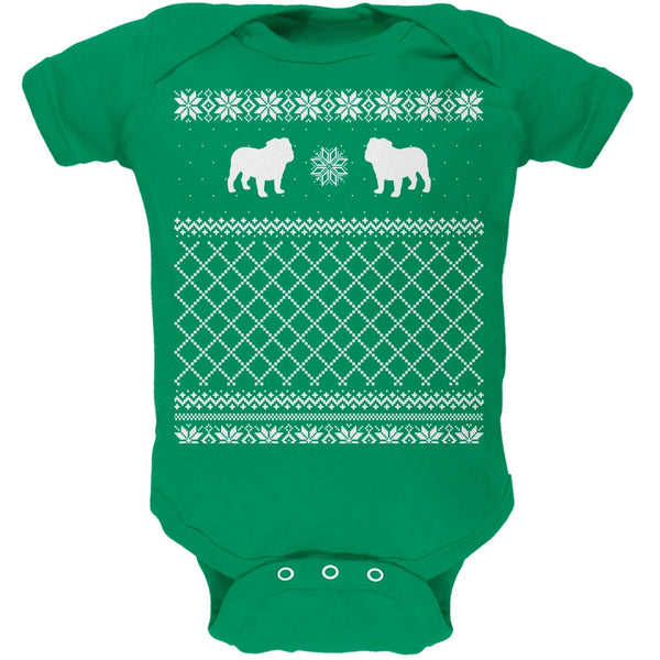Bulldog Ugly Christmas Sweater Kelly Green Soft Baby One Piece