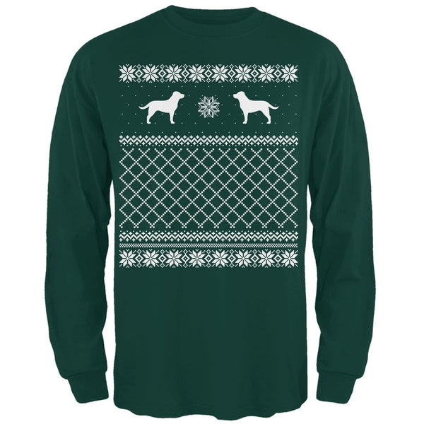 Chocolate Lab Ugly Christmas Sweater Forest Adult Long Sleeve T-Shirt